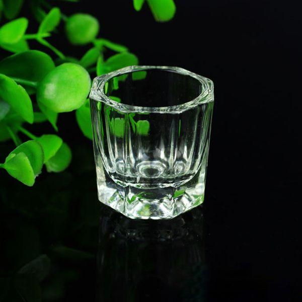 salão de manicure New Crystal Glass Cup Nail Art Armazenamento Pó Unha de Lavar escova de limpeza Cup Mini Lid bacia Salon Manicure Ferramenta de Design