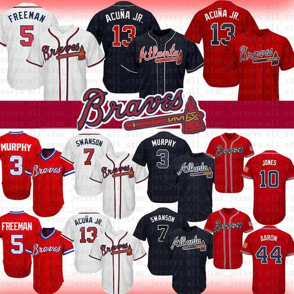 13 Ronald Acuna Jr. Braves 2019 New Baseball Jersey Atlanta 3 Dale Murphy 5 Freddie Freeman 7 Dansby Swanson 10 Jones 44 Hank Aaron Acuña Jr