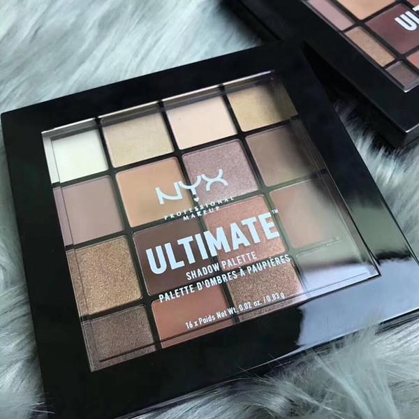 Nueva llegada NYX Paleta de sombras de ojos maquillaje ultimate 16 colores paletas de sombras de ojos nyx Shimmer Beauty Matte Professional Cosmetics Drop ship