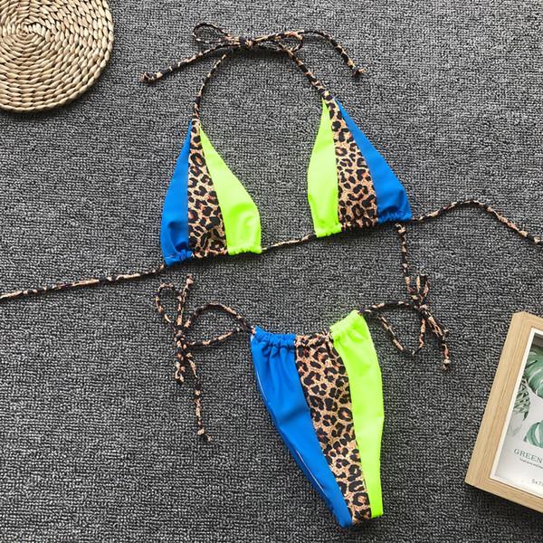 2009 Europeus e Americanos Explosivos Mulheres Dividir Swimwear Simples Leopardo-impressão Costura Bandagem Sexy Swimwear Biquíni Mulheres Biquinis Set