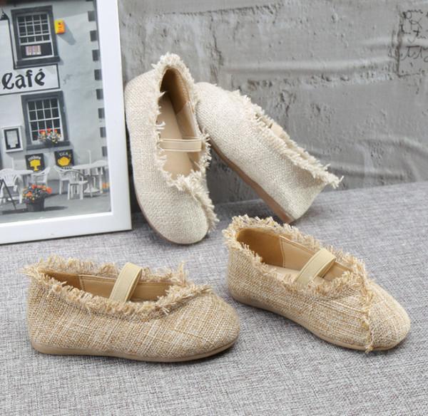 2019 Bahar yeni kızlar kanvas ayakkabılar çocuklar kaymaz püskül prenses tek ayakkabı çocuk elastik kapalı ayakkabı kızlar dans ayakkabısı gri kahverengi F3077