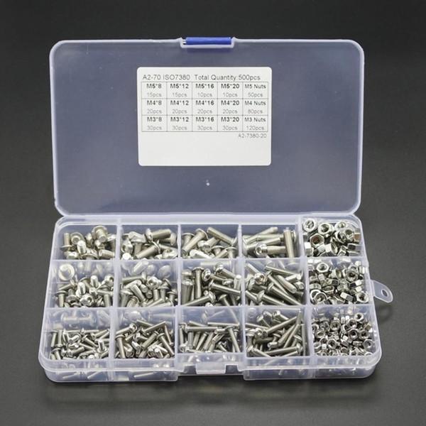 500 PCS M3M4M5 Preto Parafusos de Cabeça de Aço-Carbono Parafuso de Cabeça Sextavada Porcas Variedade Kit Mobiliário Fixador Assorted Kit