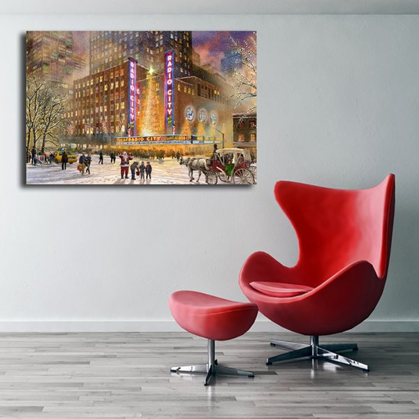 Thomas Kinkade Radio City Music Hall Painting Art Canvas Poster Painting Wall Picture Print Home Bedroom Decoration No Frame