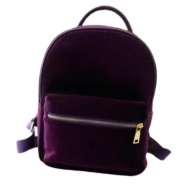 Wholesale- Fashion 2017 women backpack school bag for girls casual travel small back pack Gold velvet Rucksack backpacks Gift 1pcs