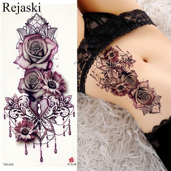 Rosa Púrpura Joyería Transferencia de Agua Pegatinas Tatuaje Mujeres Cuerpo Pecho Arte Tatuaje Temporal Chica Cintura Pulsera Flash Tatoos Flor