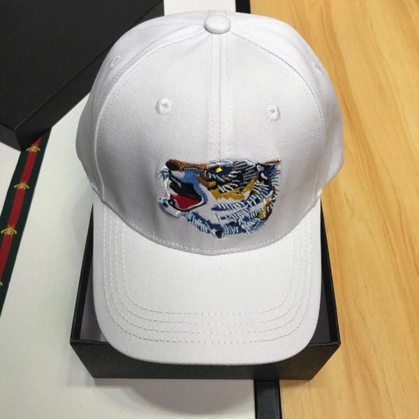 Роскошный Тигр шапки мода печати дизайнер шапки мужская женская бейсболка регулируемые шляпы Белый высокое качество с оригинальной коробке