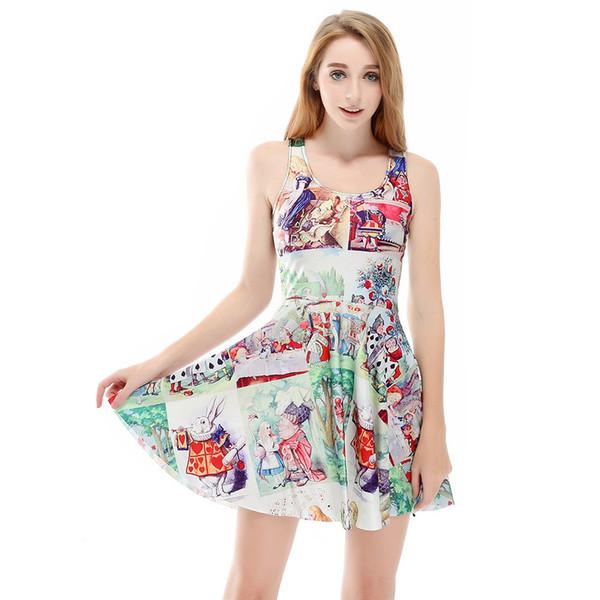 Быстрая продажа внешняя торговля мультфильм цифровая печать юбка Юбка SKD1188 для летних женщин