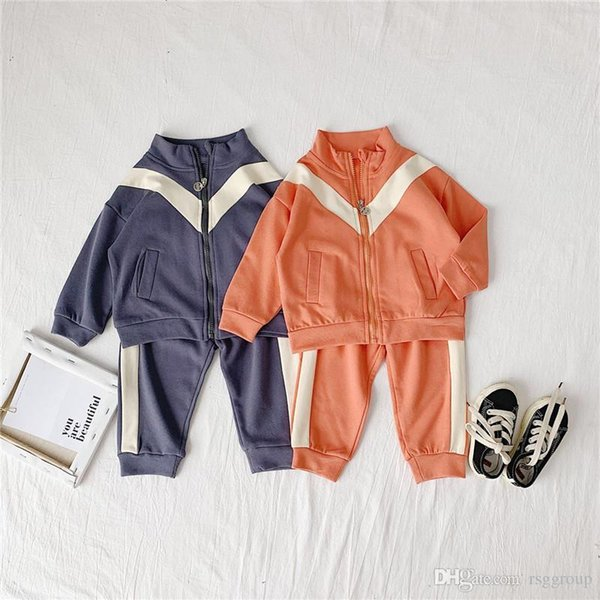 Fashions Newest INS Kids Girls Boys Tracksuits Casual Sports Child Girls Sweatshirts with Pants 2pieces Suits Stripes Children Clothing Set