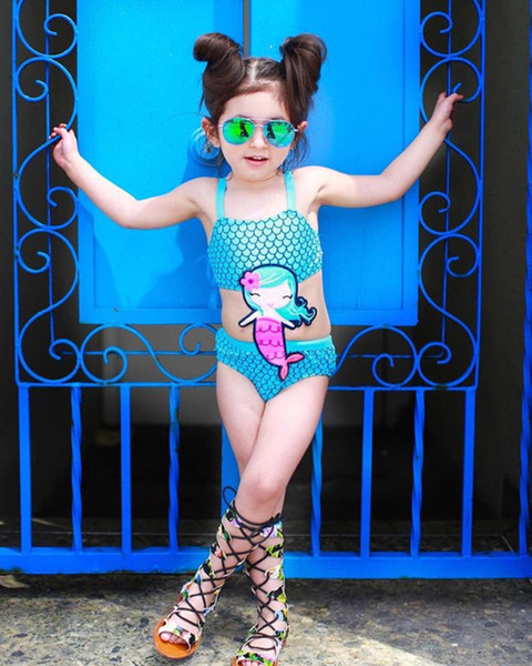 Meihuida Boutique Kids Baby Girls Embroidery Mermaid One Piece Bikini Swimwear Swimsuit Beachwear Bathing Suit Monokini