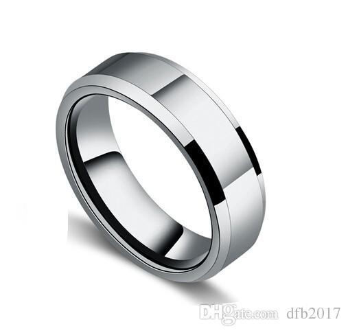 Erkekler için 6mm Klasik Alyans / Kadınlar Gümüş Renk Paslanmaz Çelik ABD boyutu