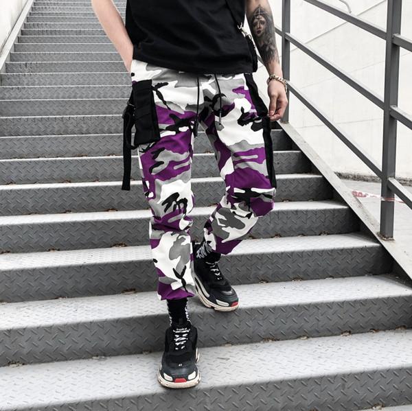 Moda Çizgili Kargo Pantolon Erkek Kamuflaj Pantolon Spor Erkekler Ins İpli Pantolon Kalça Pop Giyim