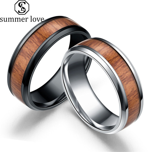2019 High Quality Wood Inlay Tungsten Carbide Wedding Ring 8mm Black Silver High Polished Stainless Steel Ring Best Gift for Men Jewelry
