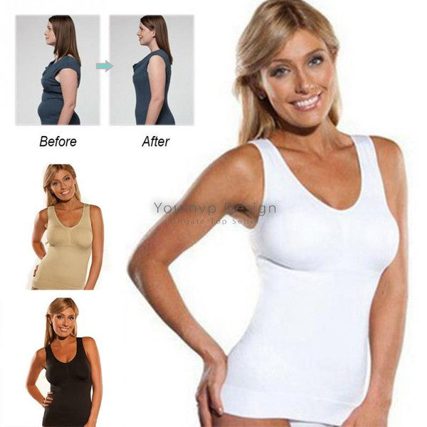 Women Cami Body shaper with Removable Pads Women Underwear Tummy Slimming Vest Corset Shapewear Black/White/Skin J2312