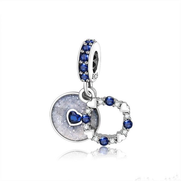 Fit Origian Pandora Браслет 100% Стерлингового Серебра 925 Шарм Бисера Синий Прозрачный Кристалл Белый Люминофор Эмаль Для Женщин Diy Ювелирные Изделия