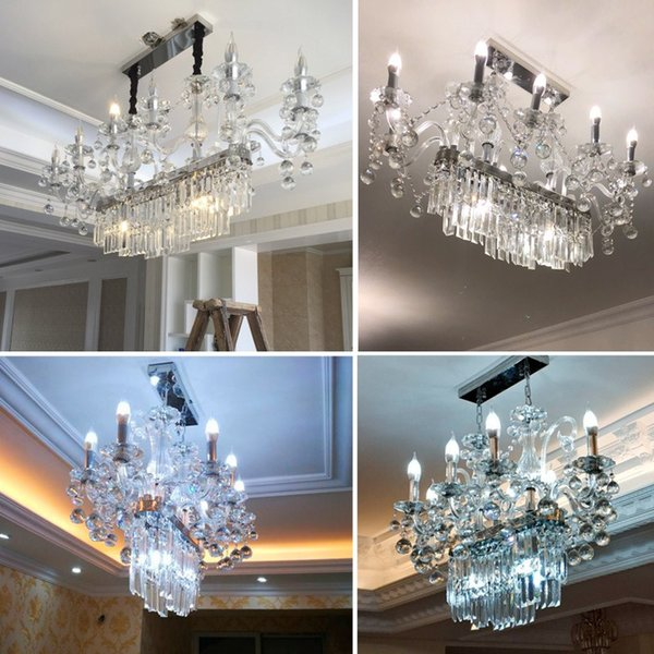 European Crystal Chandelier living room personality creative luxury custom French bar square candle meal dining room lamp