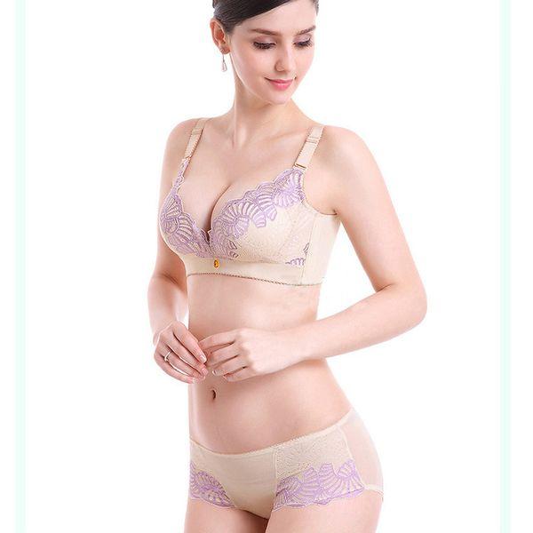 Free shipping women gathering wireless sexy bra ladies adjustable underwear push up deep V bra