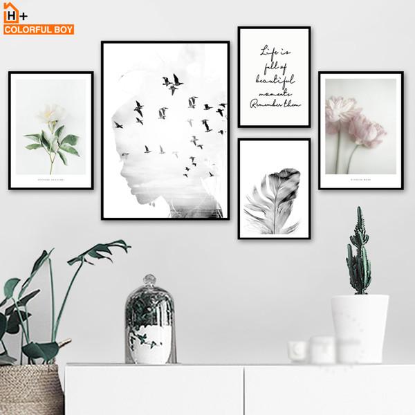 Mädchen vogel Blume Feder Zitate Landschaft Wandkunst Leinwand Malerei Nordic Poster Und Drucke Wandbilder Für Wohnzimmer Dekor