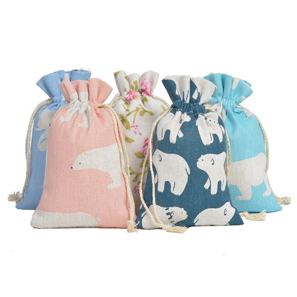 Multi Color Small Cotton Gift Bags Jewelry Packaging Bag Wedding Party Decoration Favors Flower Cartoon Pattern Durable Gift Bag Pouches