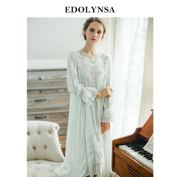Lace Nightgowns Sleepshirts Home Dress Sleep & Lounge Nightdress Sexy Nightgown Female Night Wear Solid Sleepwear #h362 Q190517