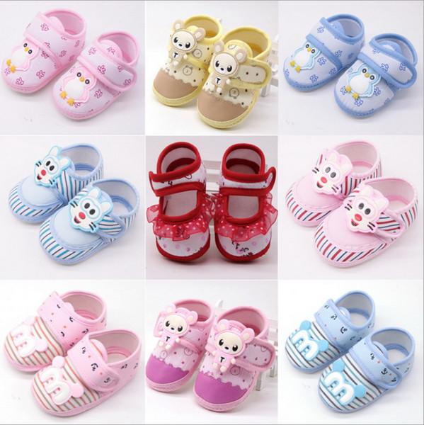 DHL 200 pares meninas Primeiro Walkers Bebê Recém-nascido Meninas Sapatos Macios Sola Rendas Floral Impresso Calçados Berço Sapatos para crianças