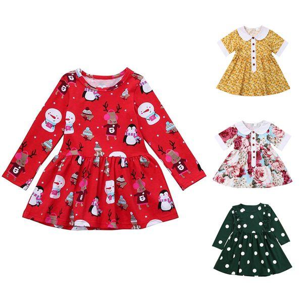 Le ragazze floreali una linea di abiti del bambino del bambino di Natale Longsleeve abito Kids Designer vestiti delle ragazze della maglia del merletto principessa dot abiti Ruffle Skirt 06