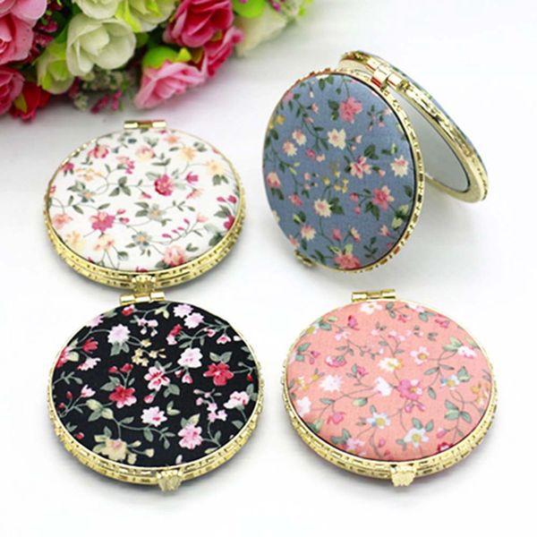 Мини-макияж компактный карманный цветочный зеркало портативный двухсторонний складной макияж зеркало женщины старинные косметические зеркала для подарка