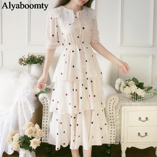 Korean Chic Summer Women Midi Tiered Dress Apricot Polka Dot Blue Floral Layered Princess Dress Elegant Chiffon Party Long