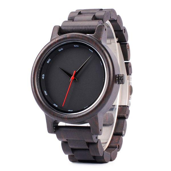 BOBO BIRD Ebony Wood Watch Men Quartz Movement Men Clock Style Wooden Strap Wristwatch relogio masculino