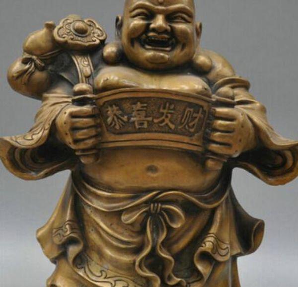 Ücretsiz kargo 13 Tibet Budizm Bronz Çanta Maitreya Buddha Heykel Heykeli