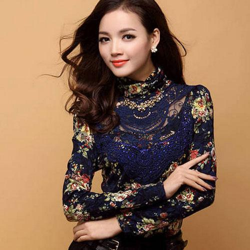 best selling S-3XL Fashion blouse Women clothing new blusas female long-sleeved Printed Casual lace shirt Slim Plus size lace Tops
