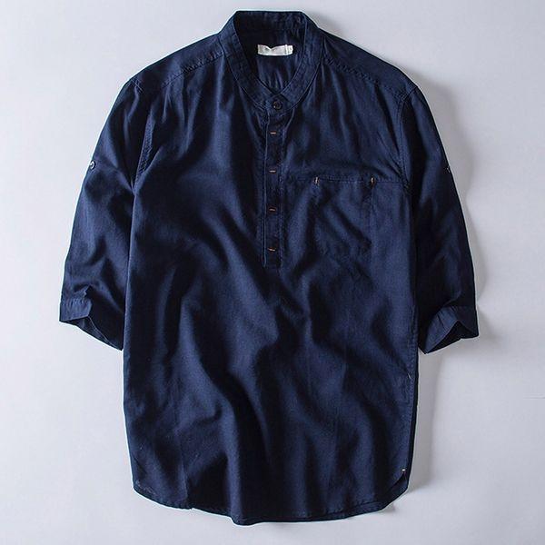 Повседневная мужская рубашка Streetwear Летняя рубашка с коротким рукавом, верхняя пуговица из хлопкового белья, сплошной цвет, свободная блузка, топы Camisa masculina SH190831