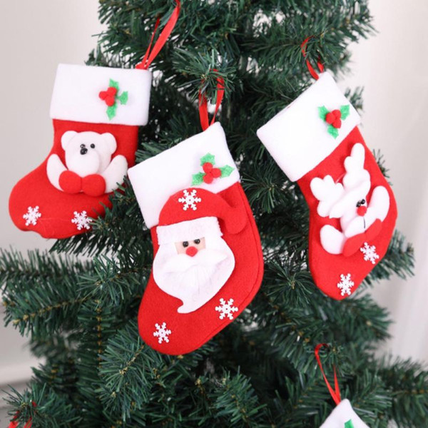 Little Christmas Stockings Gift Holders Santa Claus Snowman Holiday Gift Bag Home Garden Festive Party Supplies
