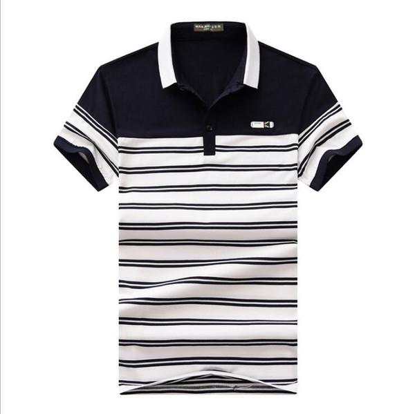 2019 new summer High quality cotton stripe Polos classic Men Polo Shirt Men Business Casual splicing Short Sleeve polos man tops tee M-4XL