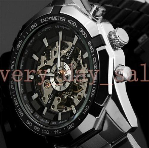 WINNER Men Automatic Watches 45mm Top Luxury WATCH Brand Man Classic Stainless Steel Self Wind Skeleton Mechanical Watch Fashion Male Clock