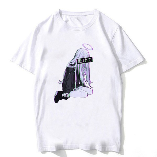 Japón anime girl WAIFU estética camiseta hombres / mujeres camiseta homme streetwear estilo algodón blanco sexy girl cartoon print