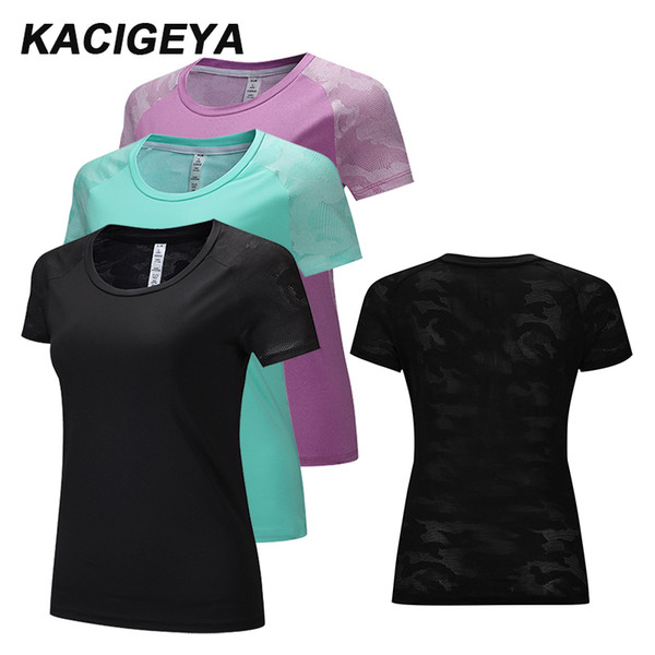 Women Fitness Yoga Shirts Mesh O Collar Polyester Sports Short Sleeves Training Workout Tops Women Quick Drying Fitness T-shirt