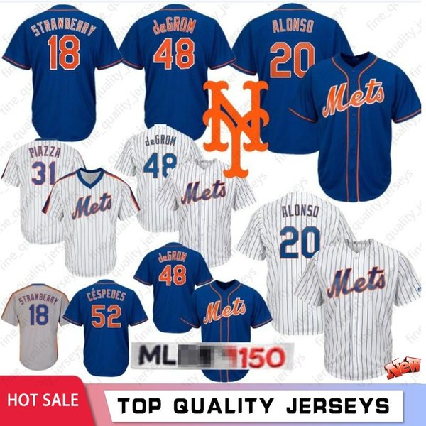 20 Pete Alonso 48 Jacob deGrom # 18 Darryl Strawberry New York 2020 Maillots Maillots Baseball 16 Mets Gooden 34 Noah 17 Hernandez 52 Cespedes