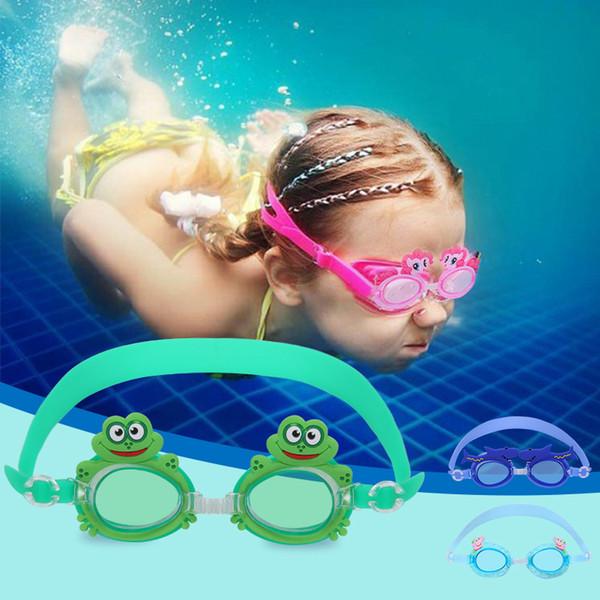 Sports de plein air Natation Eyewear Piscine Cartoon Mignonnes Lunettes Lunettes De Natation Enfants Enfants Réglable Étanche Anti-Fog Goggles