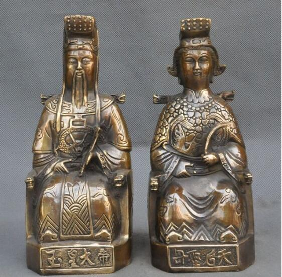 """NEW ++ +10""""old china folk myth bronze Heavenly Queen Mother Jade Emperor god statue pair"""