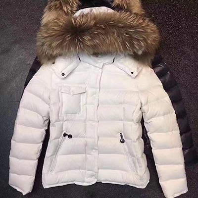 Winter Women down coat Dress Coat Real Raccoon Fur Coat Detachable Collar Hood Parkas Brief paragraph bag side pocket Jacket ARMOISE