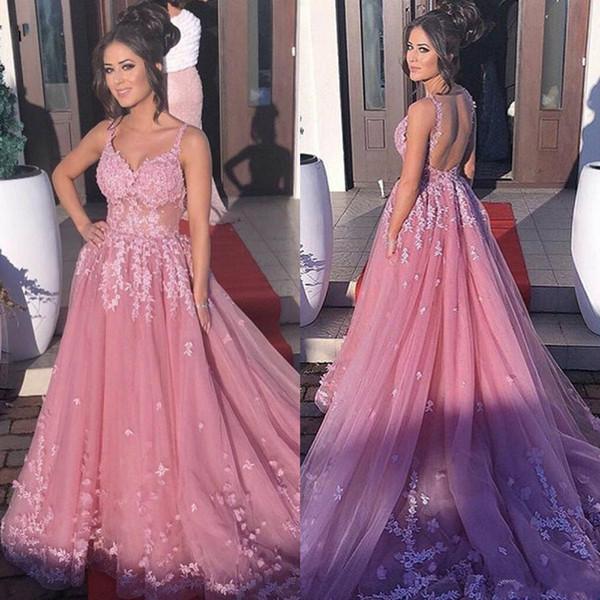 2019 vestidos de baile de encaje Vestidos de Fiesta largo de correas espaguetis ilusión Sheer blusa sin espalda vestidos de noche de la celebridad vestido de fiesta formal