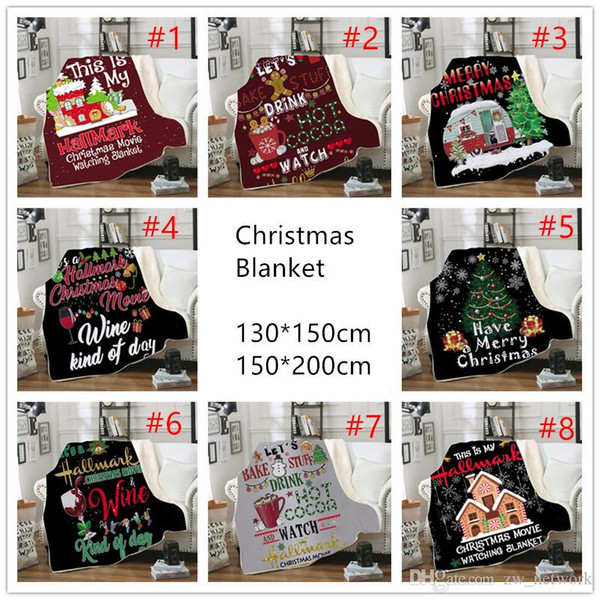 top popular Christmas Blanket for kids 3D printing Thick Sherpa Fleece blankets Soft Warm sofa throw blanket sleeping Quilt blanket 130*150cm 2019