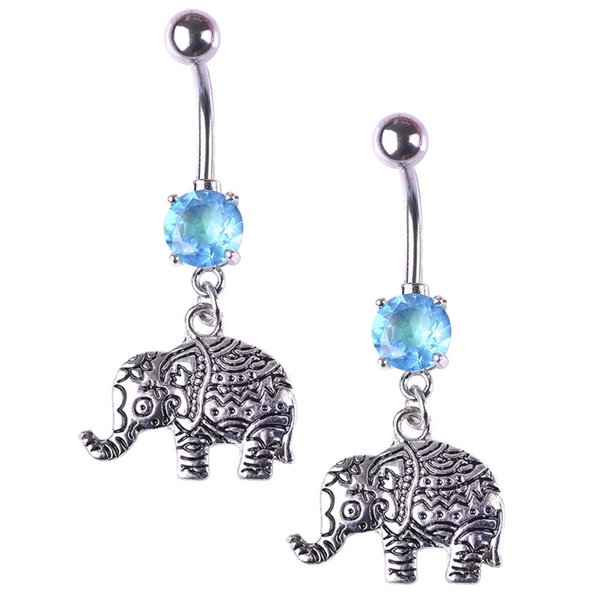 20pcs/bulk Stainless Steel Lady Belly Botton New Retro Elephant Navel Nail Totem Navel Button Accessories
