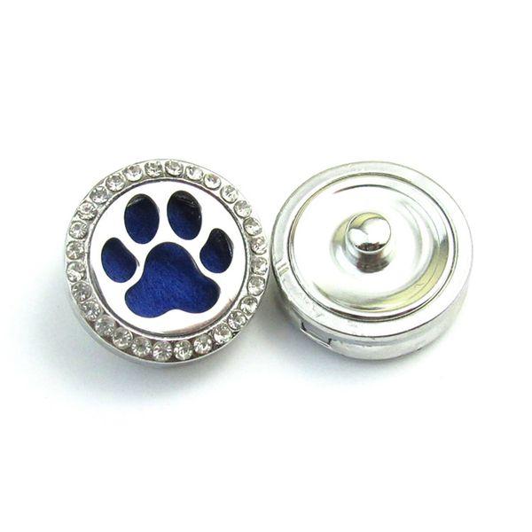 Dog handprint perfume essence diffuser pendant box alloy crystal hollow button box silver cushion birthday present