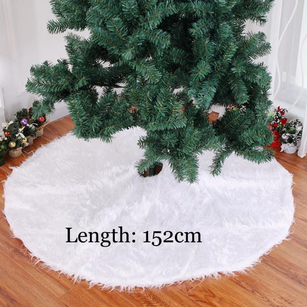 152 centímetros Tamanho Grande Árvore de Natal saia Tapete pêlo longo Plush Pure Decoração Ano Novo para Home Navidad Noel Tapete Xmas Capa YWYW13