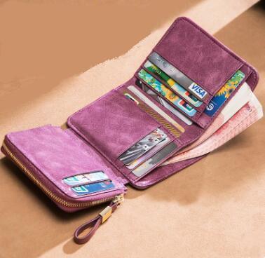 Livraison gratuite nouveau designer marque cuir véritable femmes portefeuille court portefeuille mode portefeuille classique