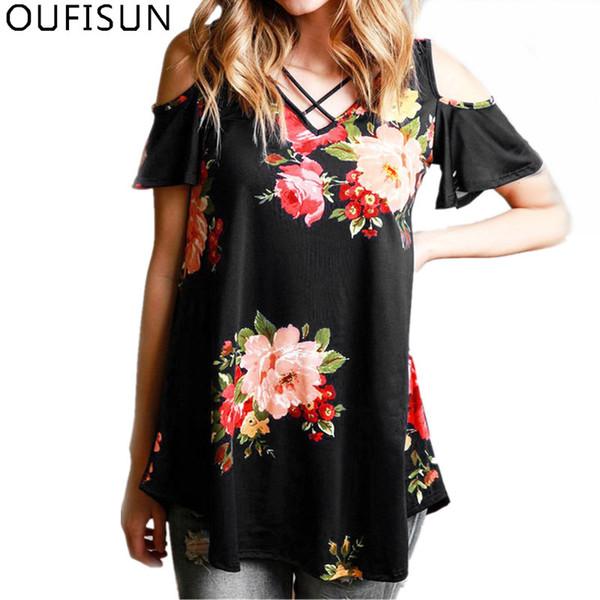 Oufisun Plus Größe 5XL Sumemr Print Floral Casual Frauen T Shirts Neue Beiläufige Sexy V-ausschnitt Offene Schulter Lose T-shirt Weiche T Tops