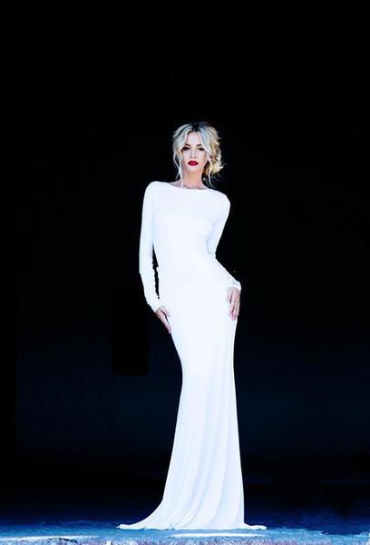 Bianco manica lunga Backless dei vestiti da sera Mermaid Slim Equipaggiata Abiti da sposa economici vestido de festa longo Invitato a un matrimonio Dresse