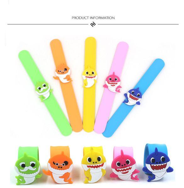 Cute Baby Shark Clap Ring PVC Silicone Slap Snap Bracelet Wristband Grandpa Grandma Bracelet Kid Boys Girls Cartoon Bangle Party Toys B7501