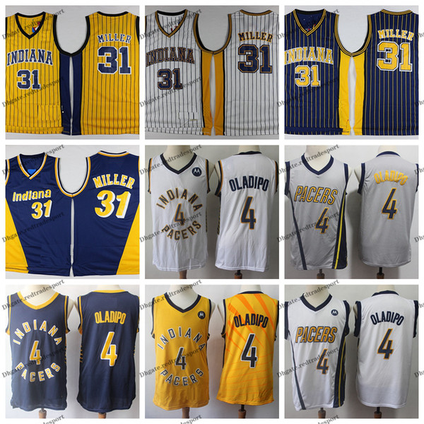 e69eebdf02a Mens Reggie Miller Indiana Vintage Pacers Basketball Jersey #31 Cheap  Yellow Blue Reggie Miller Stitched